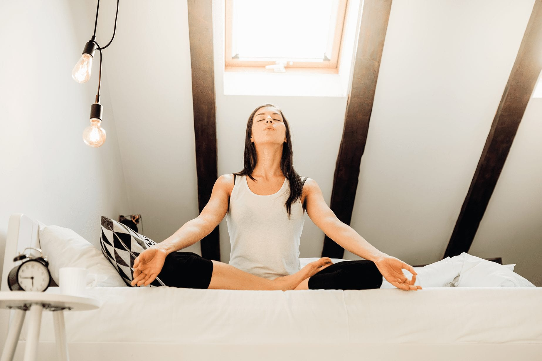 woman practicing conscious breathing for mental health