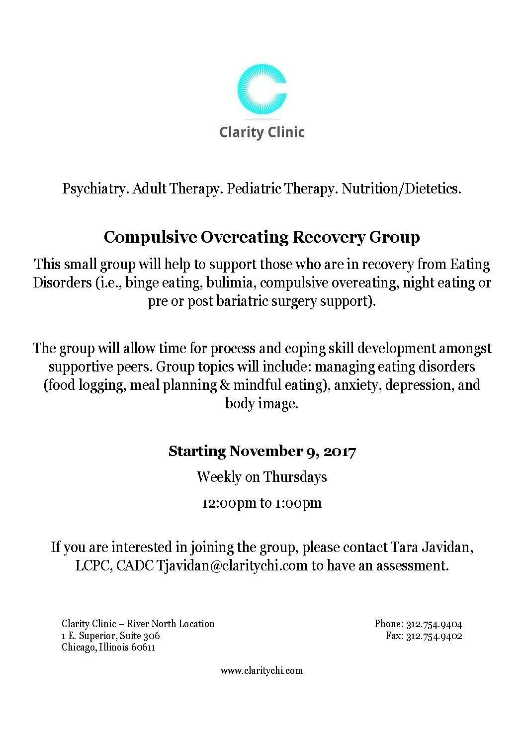 Mindful Eating Adhd And Nutrition >> Compulsive Overeating Recovery Group - Clarity Clinic