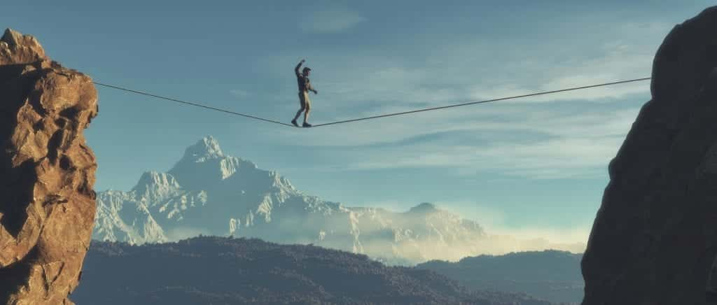 Young man walking in balance on the rope over the mountains. This is a 3d render illustration