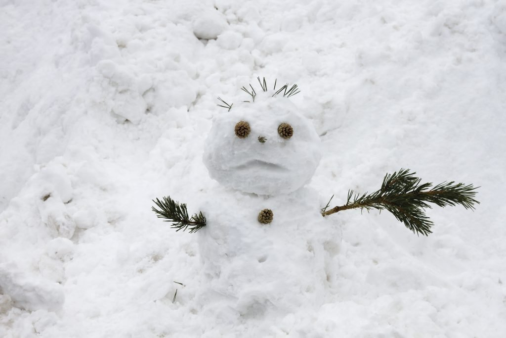 Snowman with sad and confused face