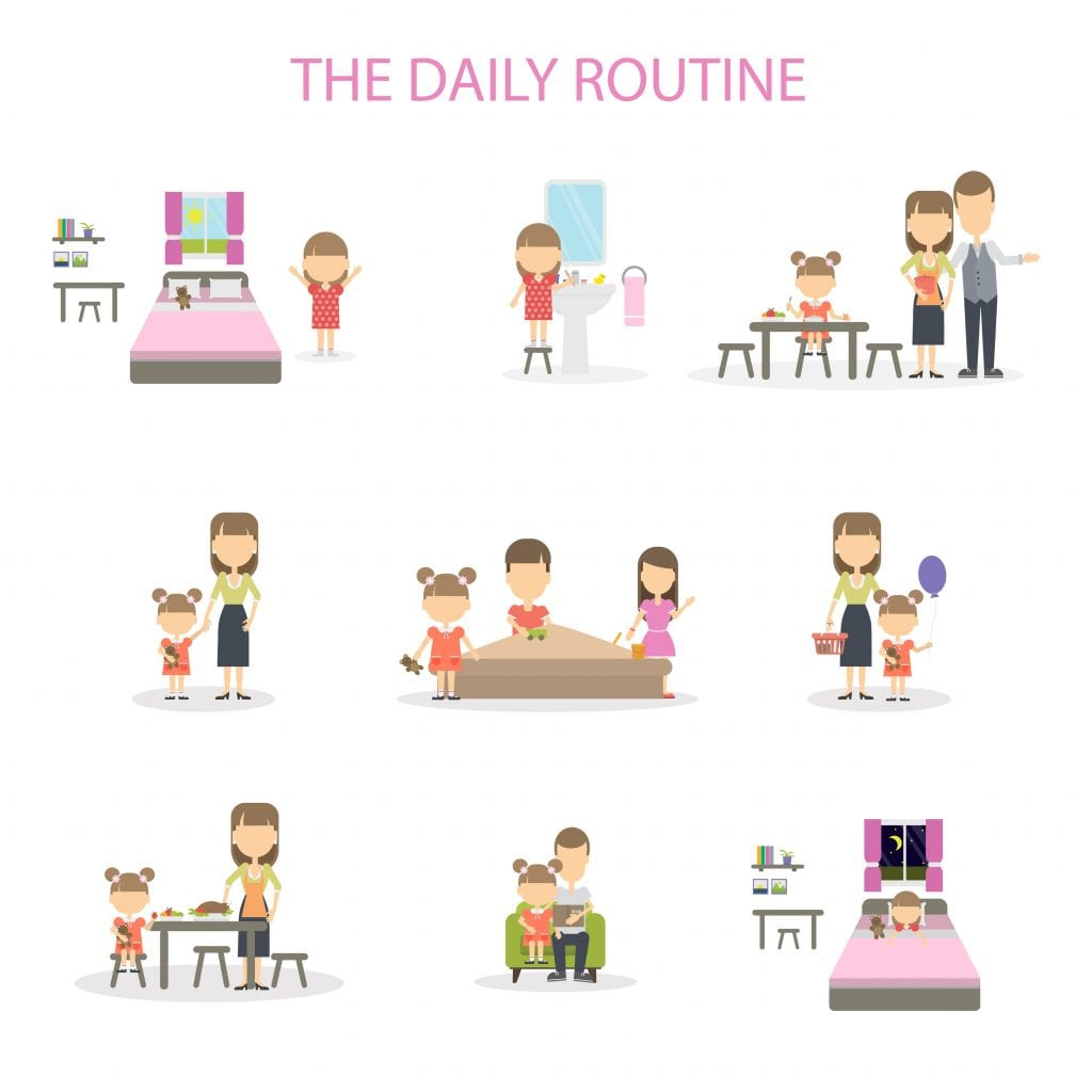The daily routine of a girl. Set of domestic chores and activities. From morning till night.